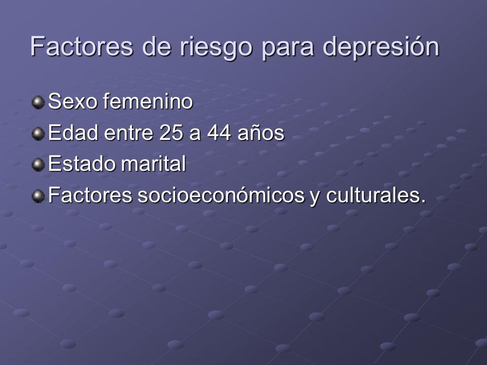 Factores de riesgo para depresión Sexo femenino Edad entre 25 a 44 años Estado marital Factores socioeconómicos y culturales.