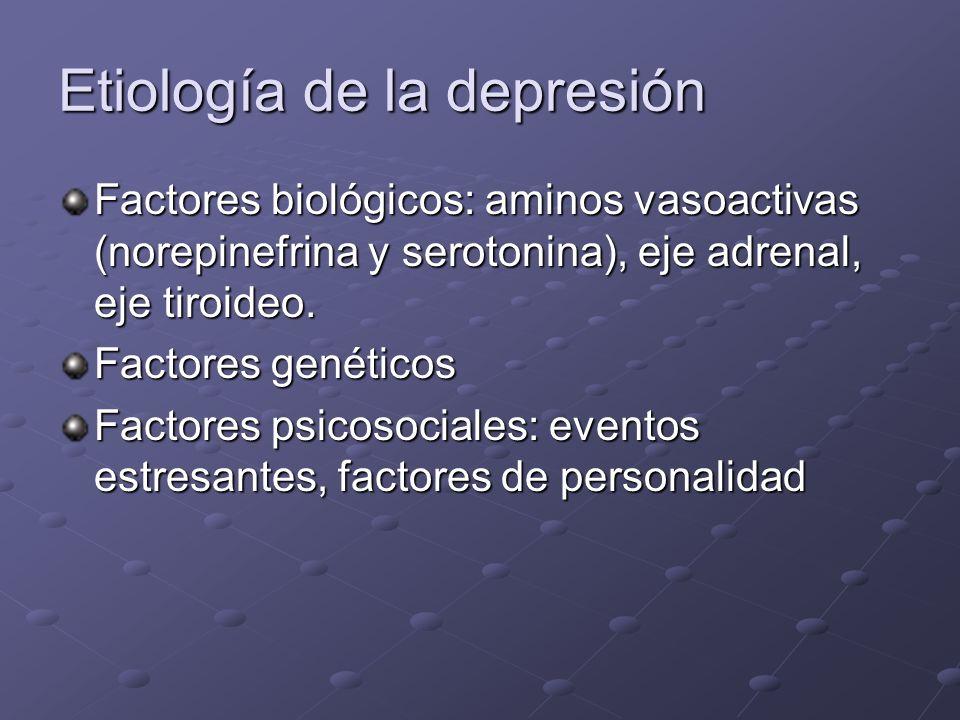 Etiología de la depresión Factores biológicos: aminos vasoactivas (norepinefrina y serotonina), eje adrenal, eje tiroideo. Factores genéticos Factores
