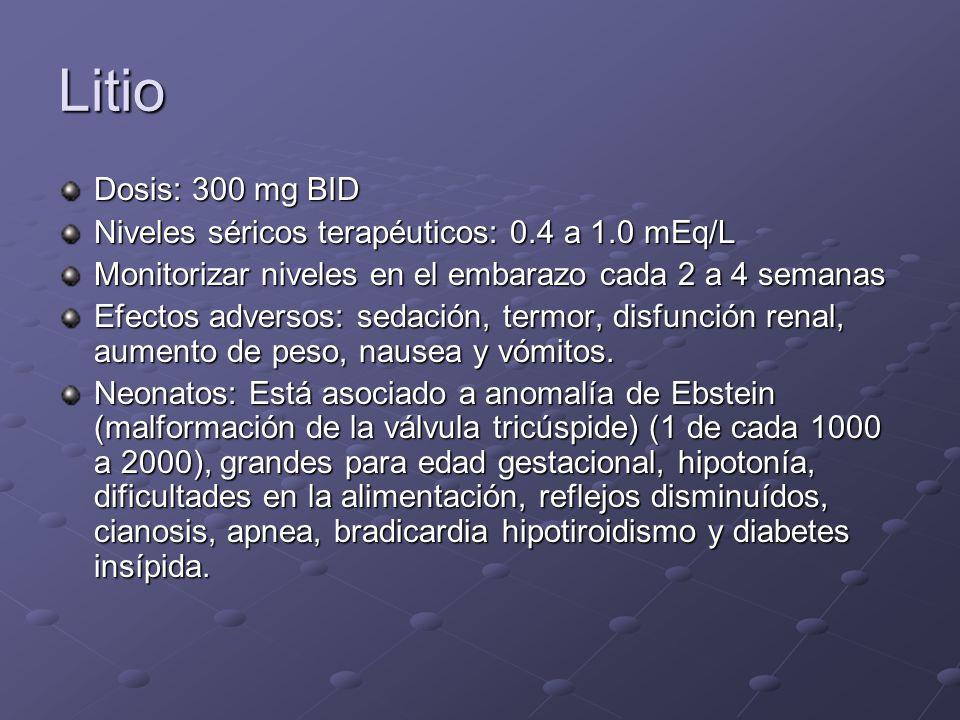 Litio Dosis: 300 mg BID Niveles séricos terapéuticos: 0.4 a 1.0 mEq/L Monitorizar niveles en el embarazo cada 2 a 4 semanas Efectos adversos: sedación