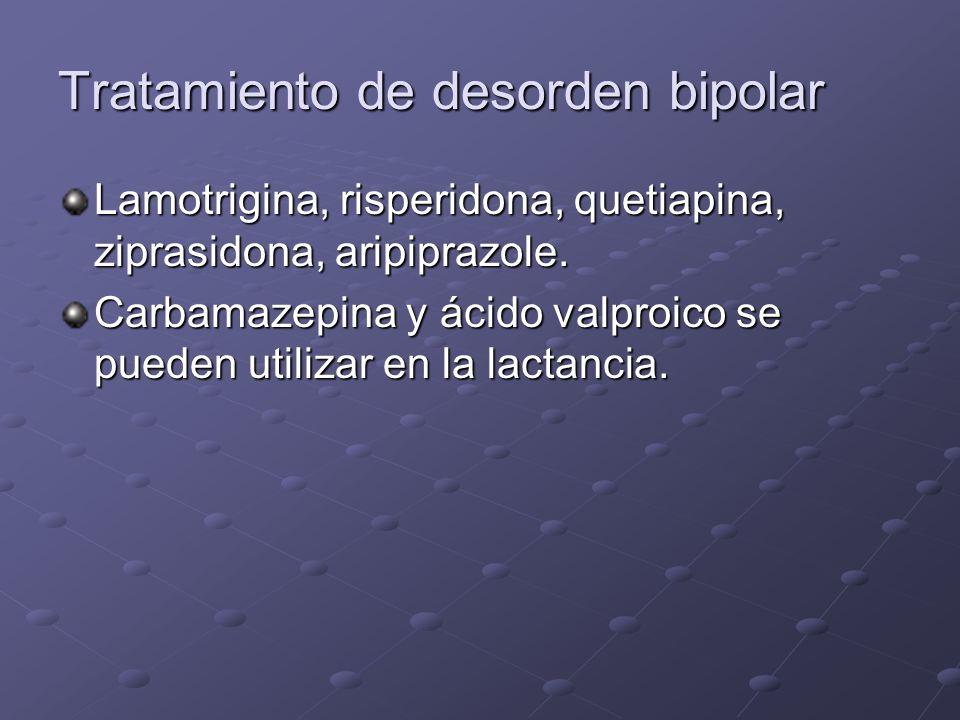 Tratamiento de desorden bipolar Lamotrigina, risperidona, quetiapina, ziprasidona, aripiprazole. Carbamazepina y ácido valproico se pueden utilizar en