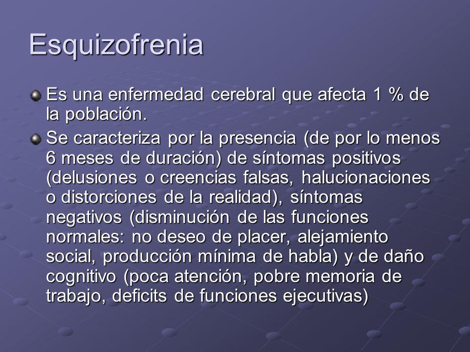 Esquizofrenia Es una enfermedad cerebral que afecta 1 % de la población. Se caracteriza por la presencia (de por lo menos 6 meses de duración) de sínt