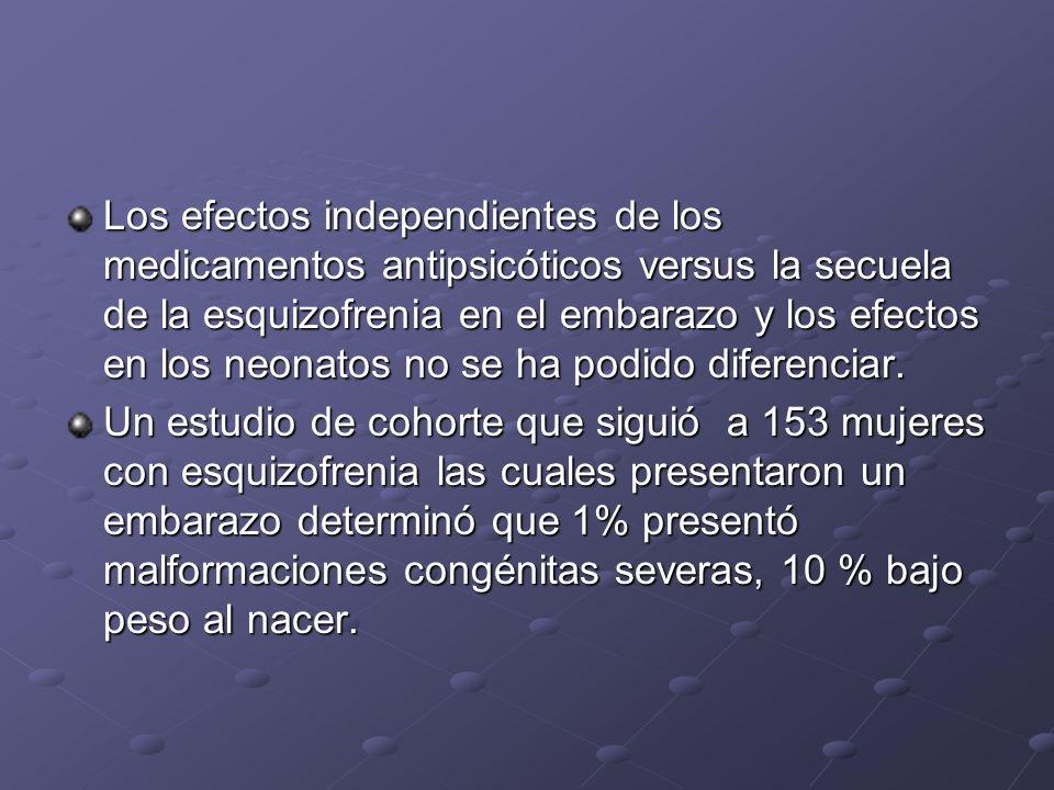 Los efectos independientes de los medicamentos antipsicóticos versus la secuela de la esquizofrenia en el embarazo y los efectos en los neonatos no se