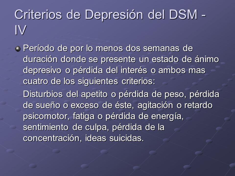 Criterios de Depresión del DSM - IV Período de por lo menos dos semanas de duración donde se presente un estado de ánimo depresivo o pérdida del inter