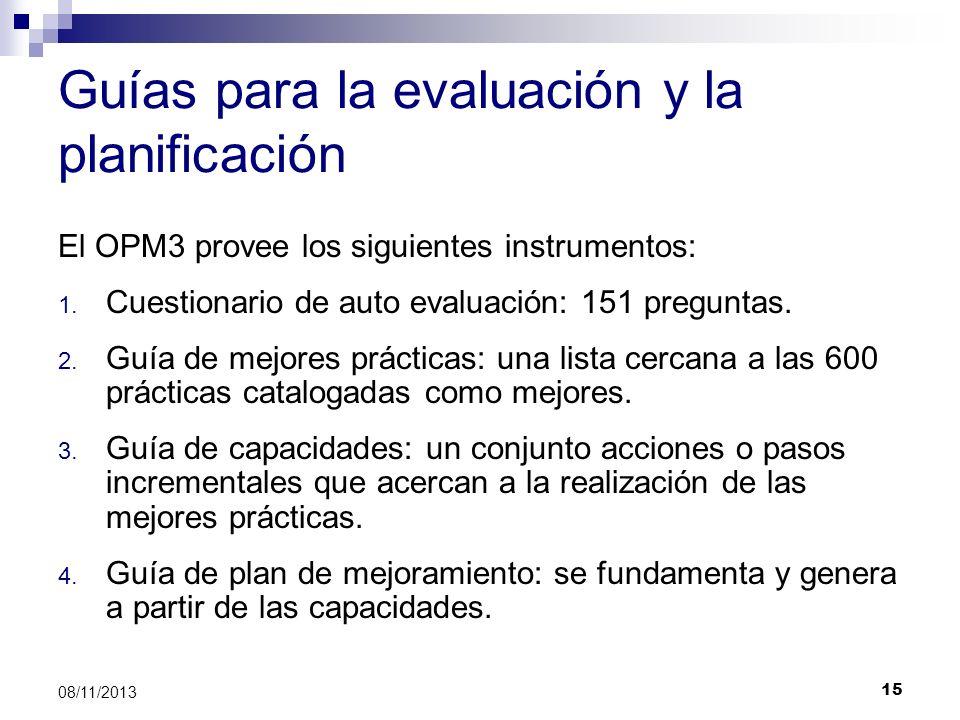 15 08/11/2013 Guías para la evaluación y la planificación El OPM3 provee los siguientes instrumentos: 1. Cuestionario de auto evaluación: 151 pregunta