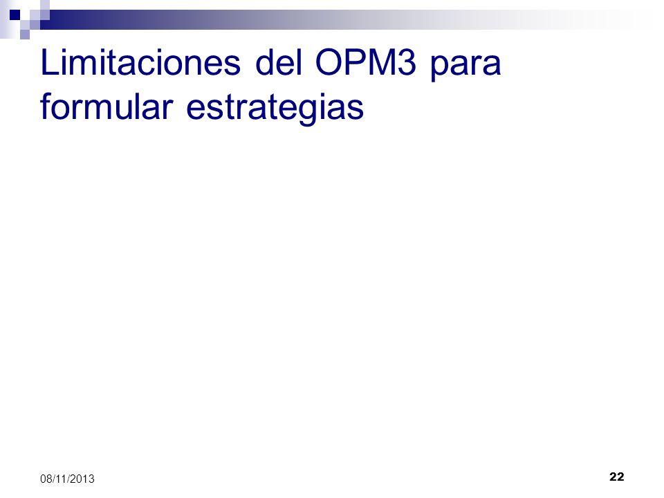 22 08/11/2013 Limitaciones del OPM3 para formular estrategias