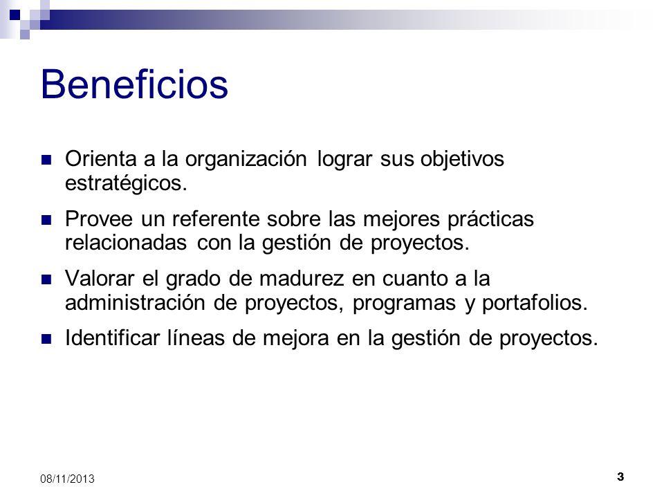 3 08/11/2013 Beneficios Orienta a la organización lograr sus objetivos estratégicos. Provee un referente sobre las mejores prácticas relacionadas con