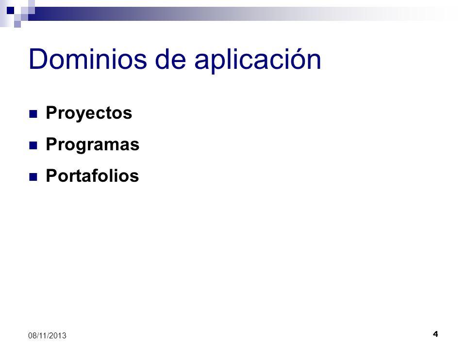 5 08/11/2013 Niveles de madurez Portafolio Programa Proyecto EstandarizaciónMediciónControl Mejora continua Dominios Etapas