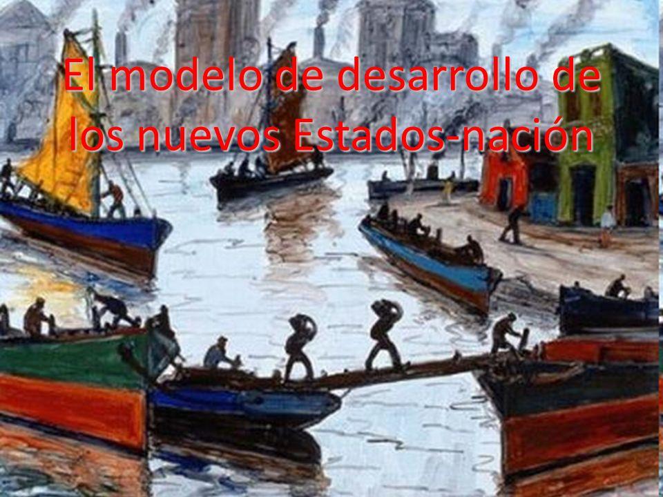 Los sistemas nacionales / América Latina El nuevo pacto colonial se consolida al mismo tiempo que se modifica a favor de las metrópolisEl nuevo pacto colonial se consolida al mismo tiempo que se modifica a favor de las metrópolis –Apropiación directa de la minería, agricultura de plantaciones y booms locales en general, por la demanda de inversiones –Excepciones: expansión de la producción agropecuaria templada (Argentina, Uruguay) y café (Brasil) Internamente (en cada país) esto muestra el debilitamiento relativo de los sectores terratenientes y el surgimiento de sectores medios:Internamente (en cada país) esto muestra el debilitamiento relativo de los sectores terratenientes y el surgimiento de sectores medios: –Acceso a la democracia (Argentina, Uruguay, Chile) –Revolución (México) –Permanencia de oligarquías y sistemas autoritarios (el resto)