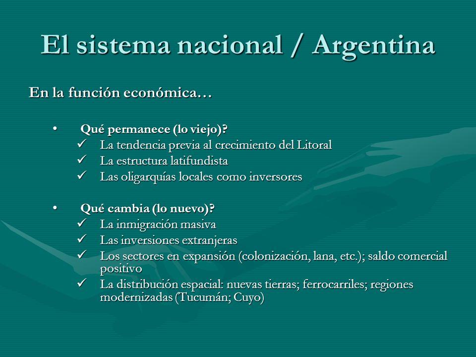 El sistema nacional / Argentina En la función económica… Qué permanece (lo viejo)? Qué permanece (lo viejo)? La tendencia previa al crecimiento del Li