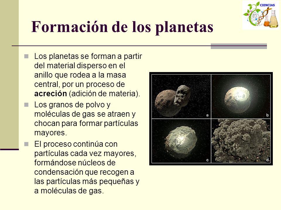 Formación de los planetas Los planetas se forman a partir del material disperso en el anillo que rodea a la masa central, por un proceso de acreción (