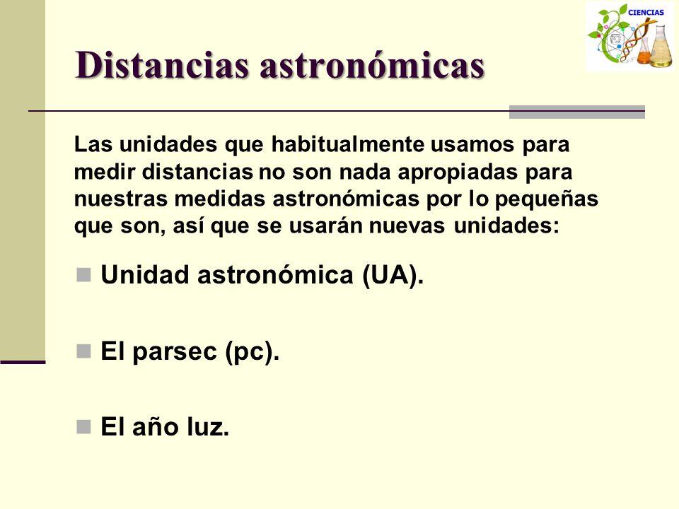 Distancias astronómicas Unidad astronómica (UA). El parsec (pc). El año luz. Las unidades que habitualmente usamos para medir distancias no son nada a