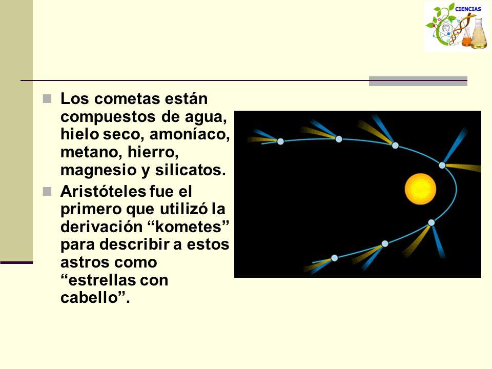 Los cometas están compuestos de agua, hielo seco, amoníaco, metano, hierro, magnesio y silicatos. Aristóteles fue el primero que utilizó la derivación