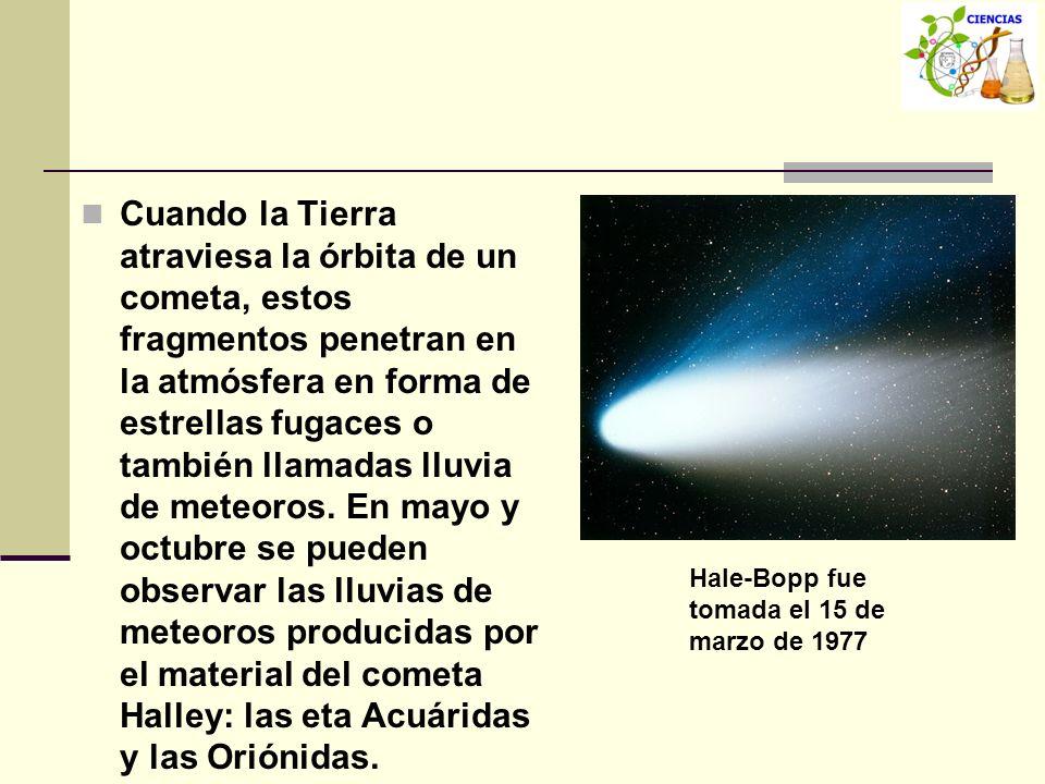 Cuando la Tierra atraviesa la órbita de un cometa, estos fragmentos penetran en la atmósfera en forma de estrellas fugaces o también llamadas lluvia d