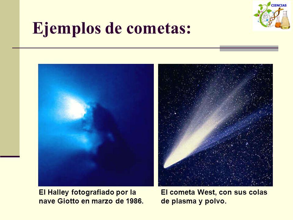Ejemplos de cometas: El Halley fotografiado por la nave Giotto en marzo de 1986. El cometa West, con sus colas de plasma y polvo.