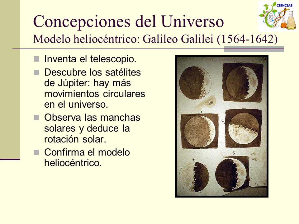 Concepciones del Universo Modelo heliocéntrico: Galileo Galilei (1564-1642) Inventa el telescopio. Descubre los satélites de Júpiter: hay más movimien