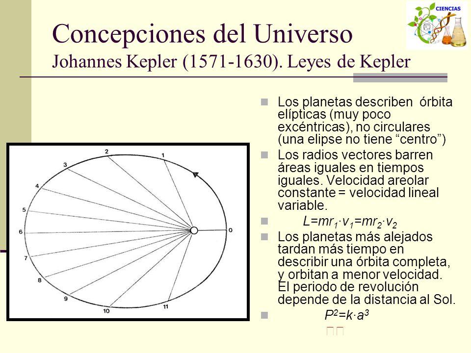 Concepciones del Universo Johannes Kepler (1571-1630). Leyes de Kepler Los planetas describen órbita elípticas (muy poco excéntricas), no circulares (