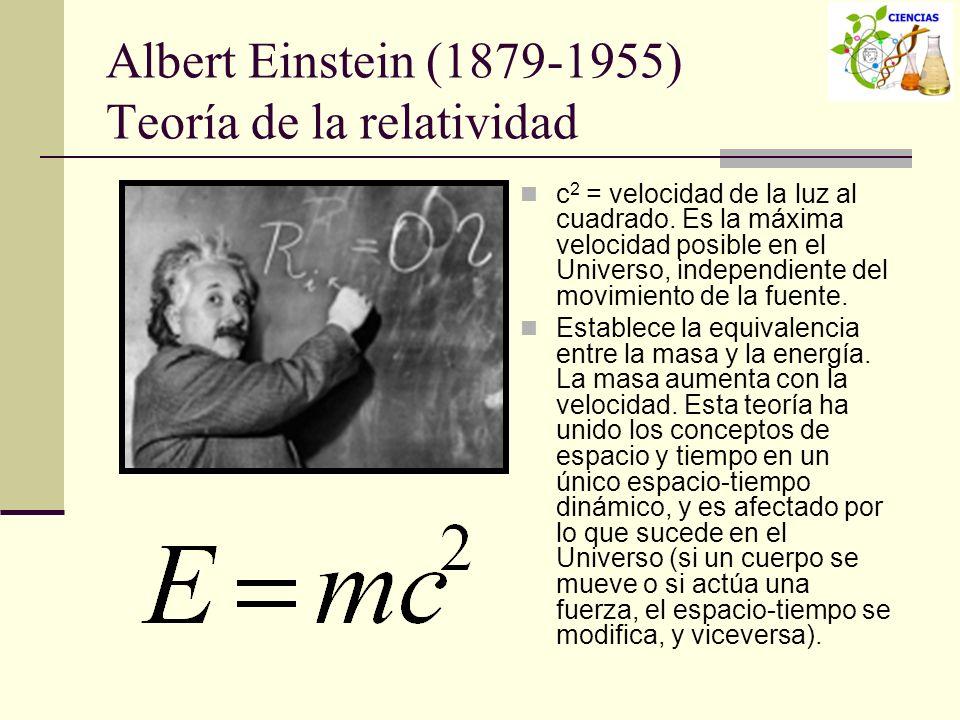 Albert Einstein (1879-1955) Teoría de la relatividad c 2 = velocidad de la luz al cuadrado. Es la máxima velocidad posible en el Universo, independien
