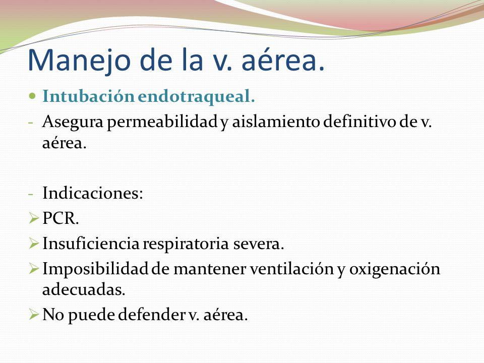 Manejo de la v. aérea. Intubación endotraqueal. - Asegura permeabilidad y aislamiento definitivo de v. aérea. - Indicaciones: PCR. Insuficiencia respi
