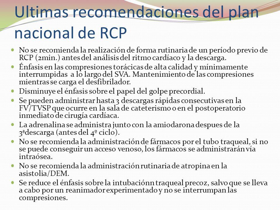 Ultimas recomendaciones del plan nacional de RCP No se recomienda la realización de forma rutinaria de un período previo de RCP (2min.) antes del anál