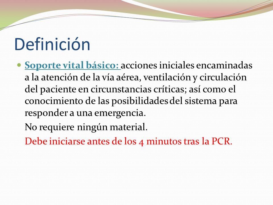 Definición Soporte vital básico: acciones iniciales encaminadas a la atención de la vía aérea, ventilación y circulación del paciente en circunstancia