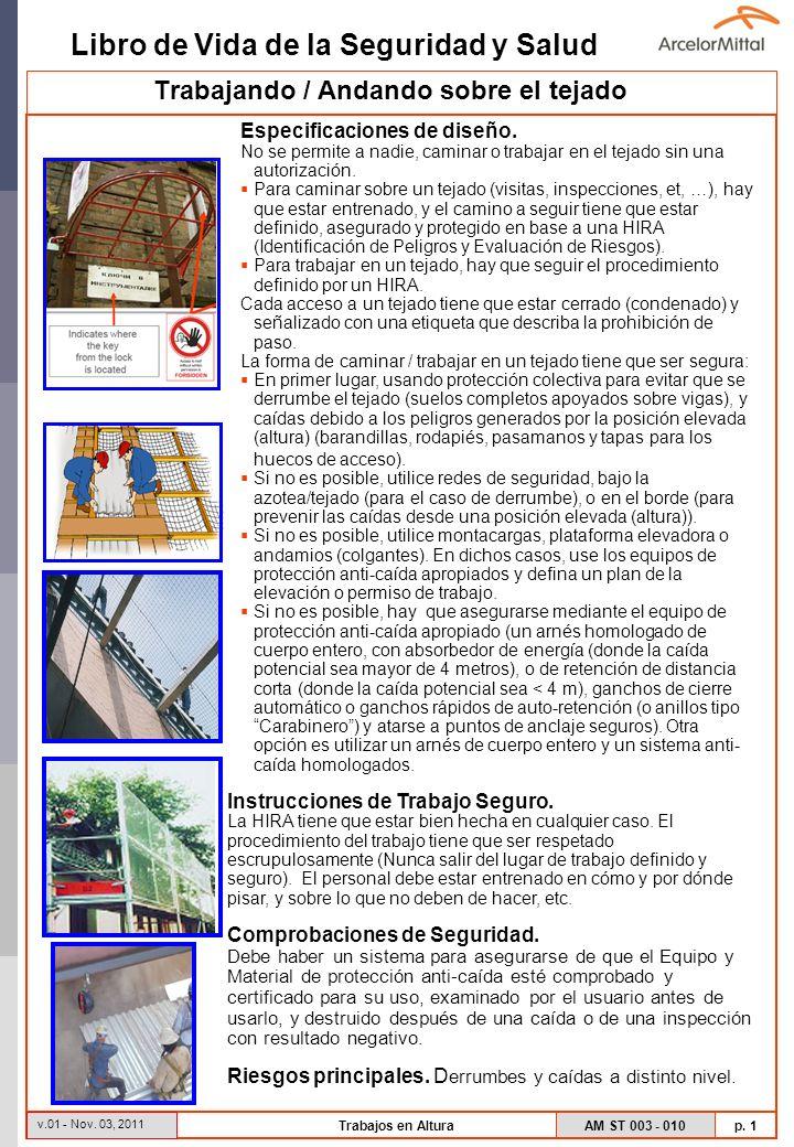 Libro de Vida de la Seguridad y Salud AM ST 003 - 010 p. 1 v.01 - Nov. 03, 2011 Trabajos en Altura Especificaciones de diseño. No se permite a nadie,