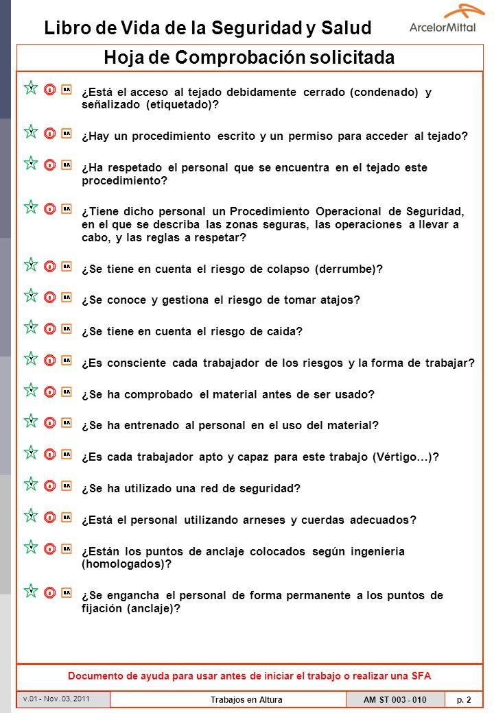 Libro de Vida de la Seguridad y Salud AM ST 003 - 010 p. 2 v.01 - Nov. 03, 2011 Trabajos en Altura Hoja de Comprobación solicitada ¿Está el acceso al
