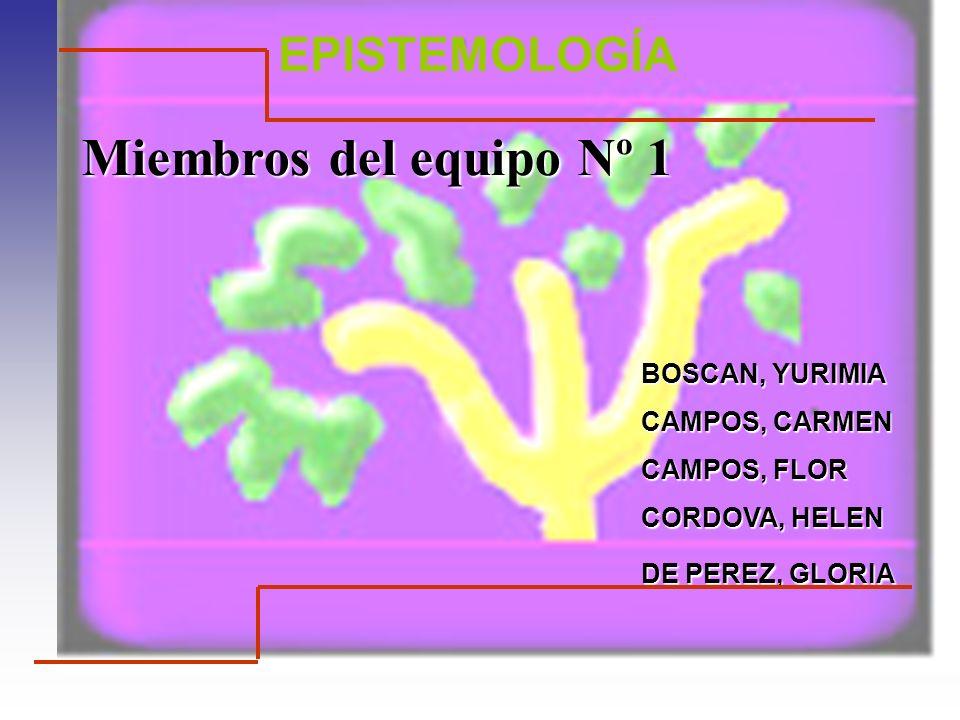 Miembros del equipo Nº 1 BOSCAN, YURIMIA CAMPOS, CARMEN CAMPOS, FLOR CORDOVA, HELEN DE PEREZ, GLORIA DE PEREZ, GLORIA EPISTEMOLOGÍA