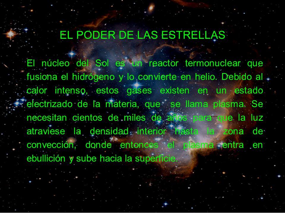 EL PODER DE LAS ESTRELLAS El núcleo del Sol es un reactor termonuclear que fusiona el hidrógeno y lo convierte en helio.