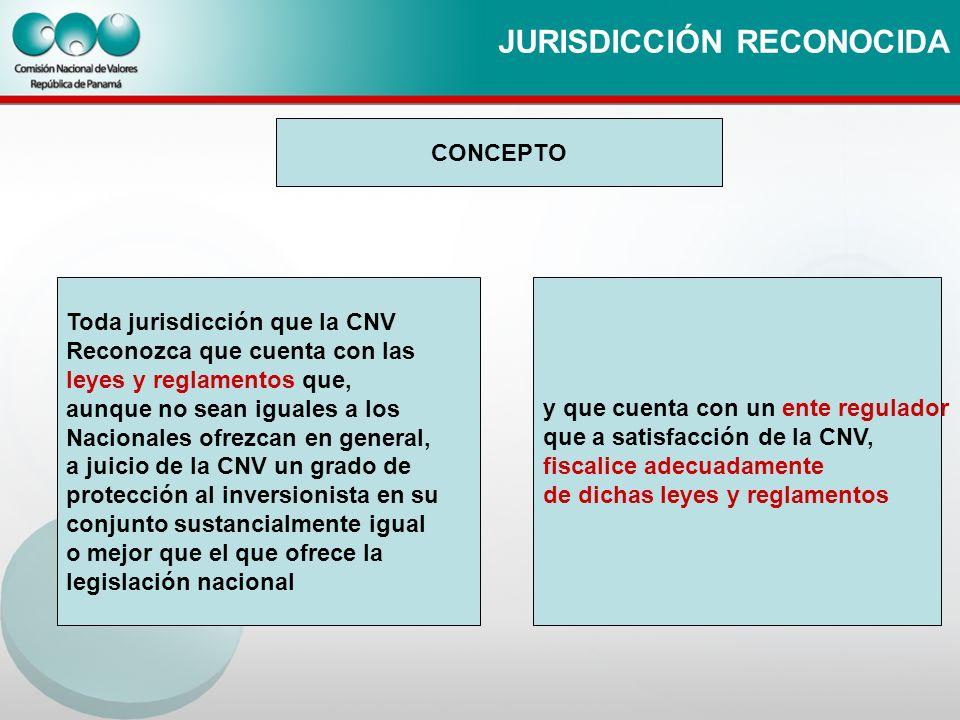 JURISDICCIÓN RECONOCIDA CONCEPTO Toda jurisdicción que la CNV Reconozca que cuenta con las leyes y reglamentos que, aunque no sean iguales a los Nacio