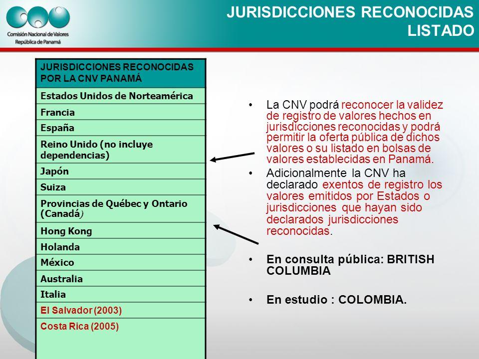 JURISDICCIONES RECONOCIDAS LISTADO La CNV podrá reconocer la validez de registro de valores hechos en jurisdicciones reconocidas y podrá permitir la o
