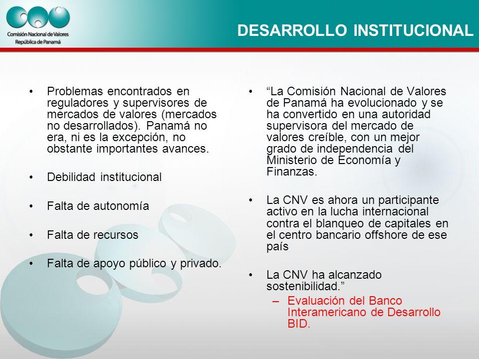 DESARROLLO INSTITUCIONAL Problemas encontrados en reguladores y supervisores de mercados de valores (mercados no desarrollados). Panamá no era, ni es