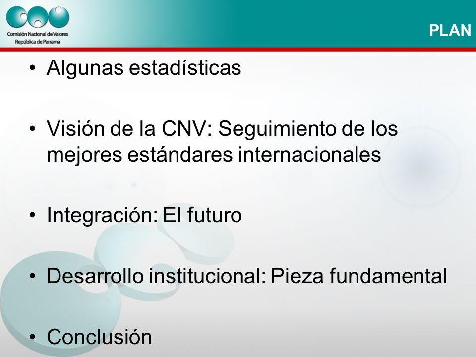 PLAN Algunas estadísticas Visión de la CNV: Seguimiento de los mejores estándares internacionales Integración: El futuro Desarrollo institucional: Pie