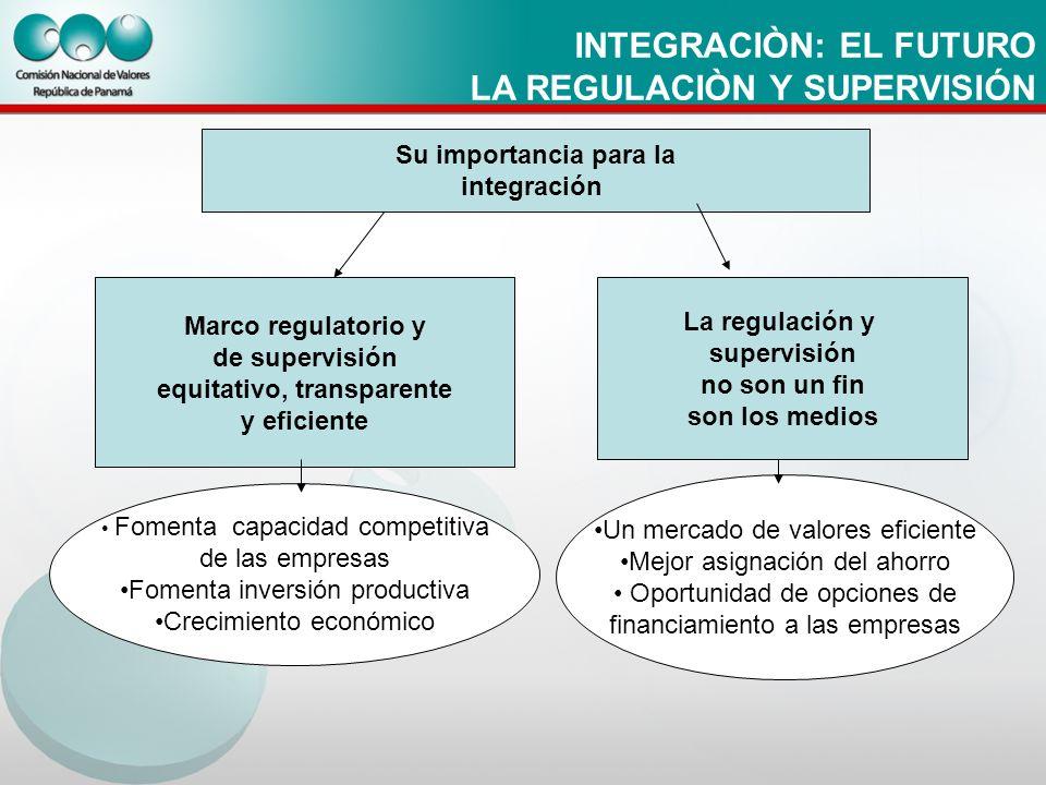 INTEGRACIÒN: EL FUTURO LA REGULACIÒN Y SUPERVISIÓN Su importancia para la integración Marco regulatorio y de supervisión equitativo, transparente y ef