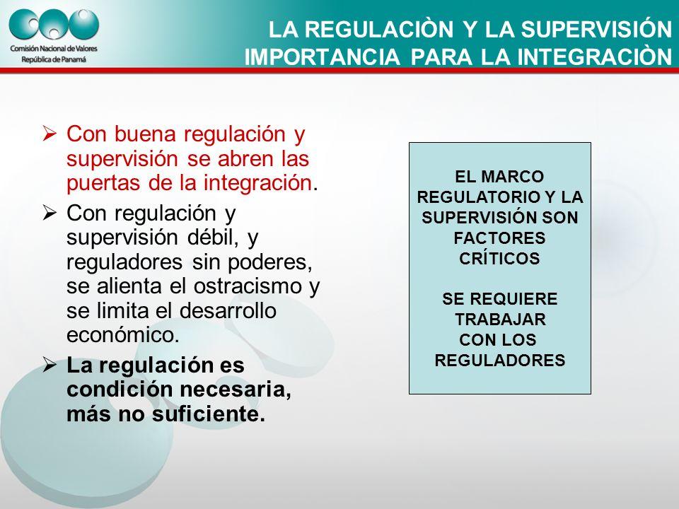 LA REGULACIÒN Y LA SUPERVISIÓN IMPORTANCIA PARA LA INTEGRACIÒN Con buena regulación y supervisión se abren las puertas de la integración. Con regulaci
