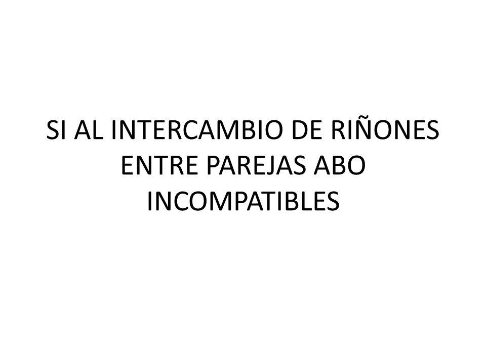 SI AL INTERCAMBIO DE RIÑONES ENTRE PAREJAS ABO INCOMPATIBLES