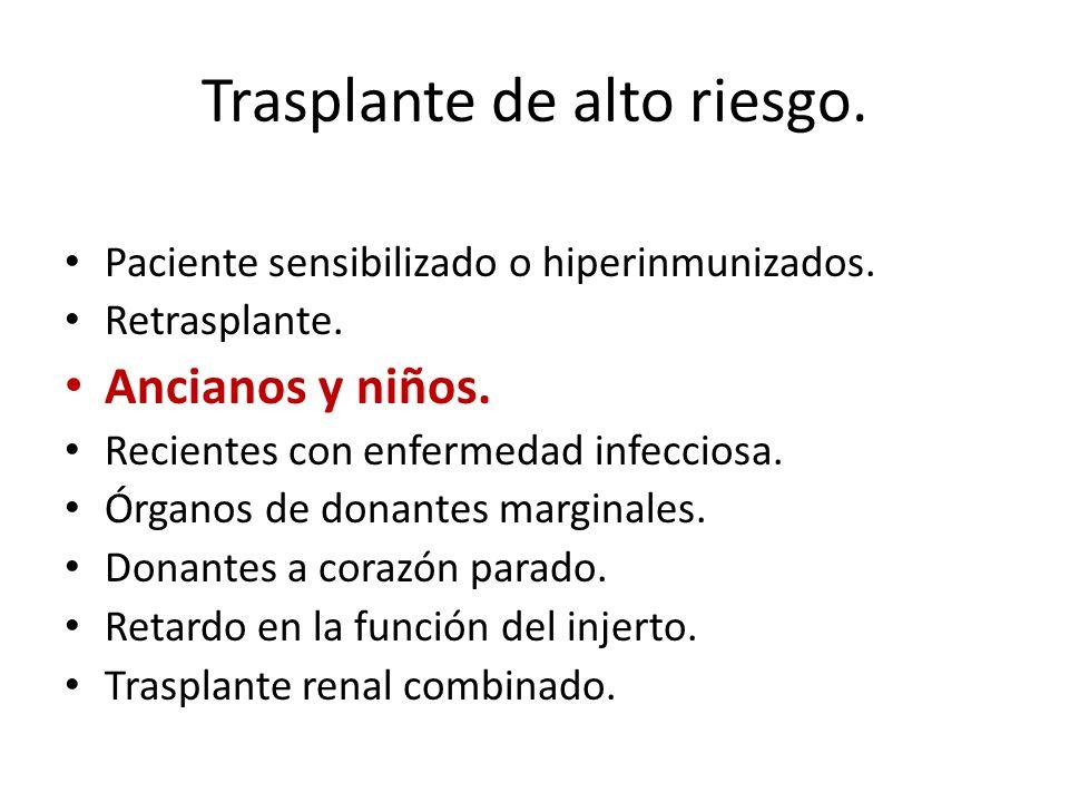 Trasplante de alto riesgo. Paciente sensibilizado o hiperinmunizados. Retrasplante. Ancianos y niños. Recientes con enfermedad infecciosa. Órganos de