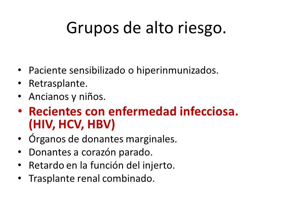 Grupos de alto riesgo. Paciente sensibilizado o hiperinmunizados. Retrasplante. Ancianos y niños. Recientes con enfermedad infecciosa. (HIV, HCV, HBV)