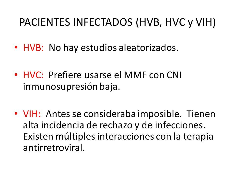 PACIENTES INFECTADOS (HVB, HVC y VIH) HVB: No hay estudios aleatorizados. HVC: Prefiere usarse el MMF con CNI inmunosupresión baja. VIH: Antes se cons