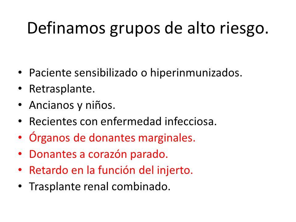 Definamos grupos de alto riesgo. Paciente sensibilizado o hiperinmunizados. Retrasplante. Ancianos y niños. Recientes con enfermedad infecciosa. Órgan