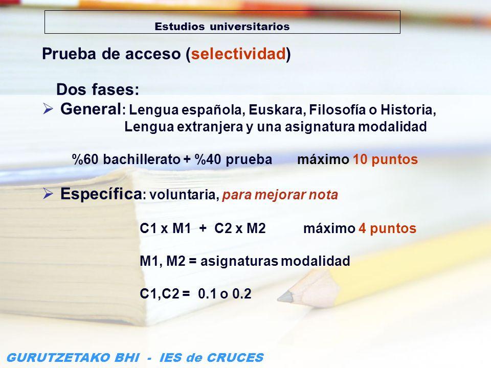 GURUTZETAKO BHI - IES de CRUCES Estudios universitarios Prueba de acceso (selectividad) Dos fases: General : Lengua española, Euskara, Filosofía o His