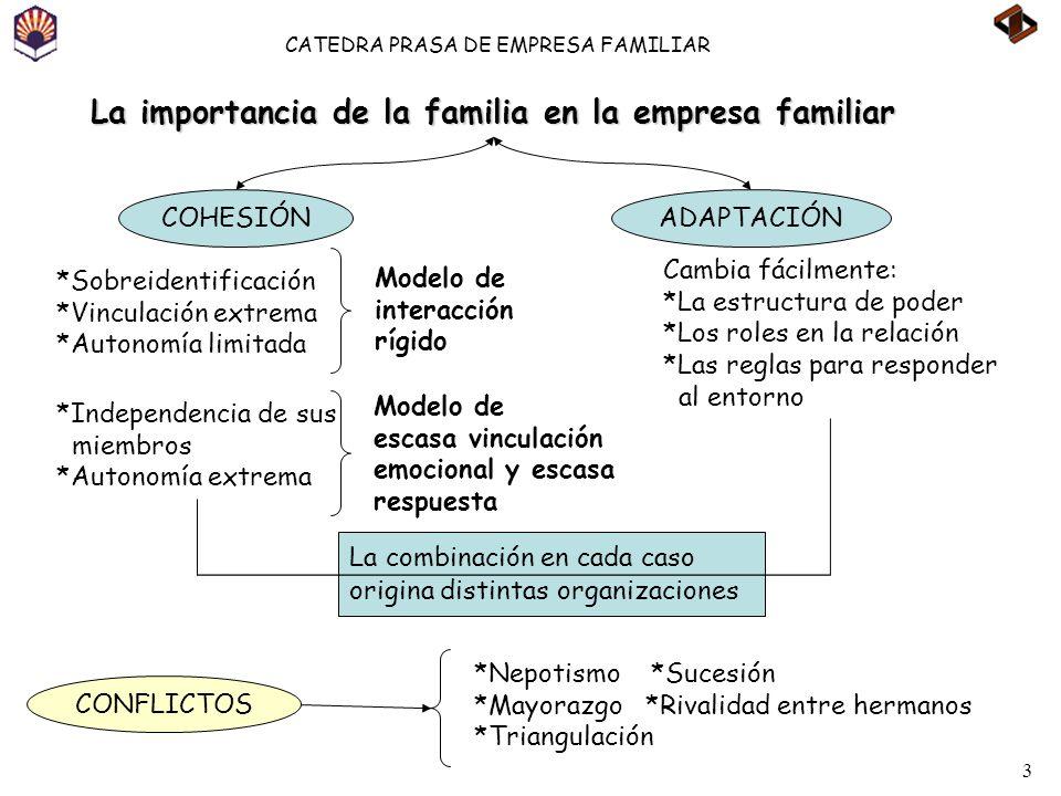 3 CATEDRA PRASA DE EMPRESA FAMILIAR La combinación en cada caso origina distintas organizaciones La importancia de la familia en la empresa familiar C