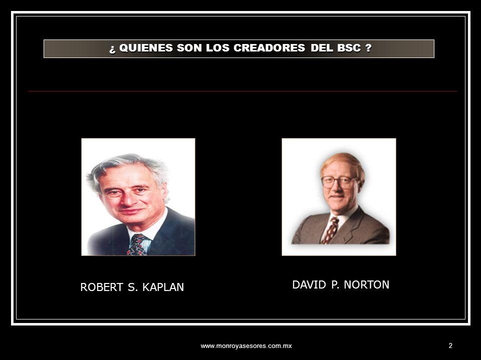 www.monroyasesores.com.mx2 ¿ QUIENES SON LOS CREADORES DEL BSC ? ¿ QUIENES SON LOS CREADORES DEL BSC ? ROBERT S. KAPLAN DAVID P. NORTON