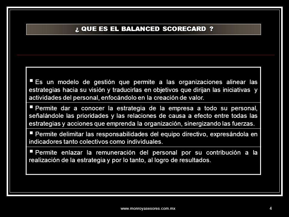 www.monroyasesores.com.mx4 ¿ QUE ES EL BALANCED SCORECARD ? ¿ QUE ES EL BALANCED SCORECARD ? Es un modelo de gestión que permite a las organizaciones