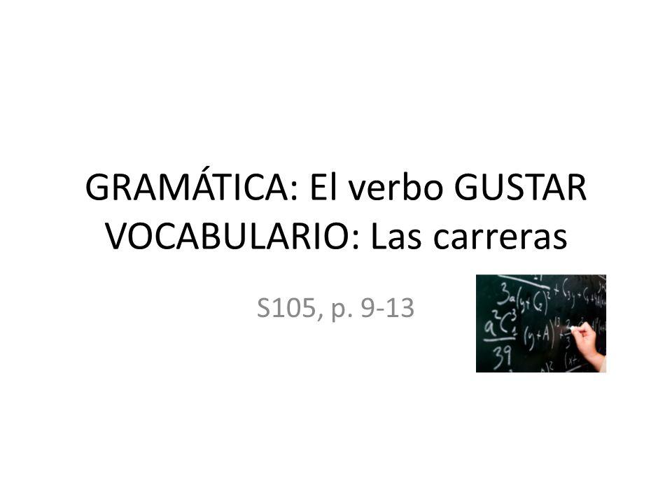 GRAMÁTICA: El verbo GUSTAR VOCABULARIO: Las carreras S105, p. 9-13
