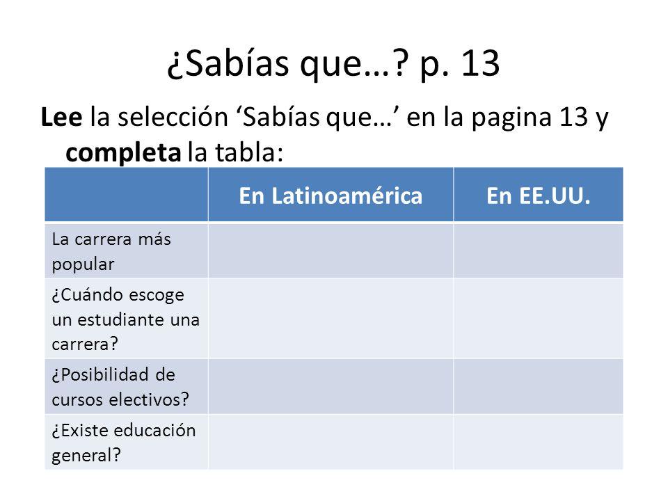 ¿Sabías que…? p. 13 Lee la selección Sabías que… en la pagina 13 y completa la tabla: En LatinoaméricaEn EE.UU. La carrera más popular ¿Cuándo escoge