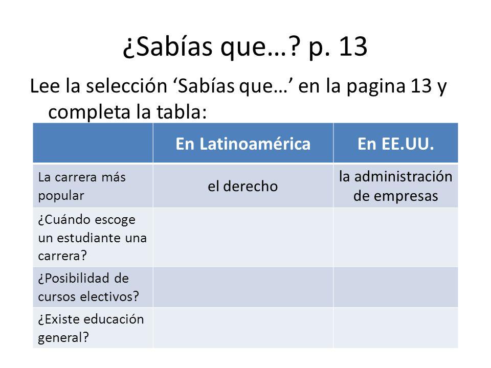 ¿Sabías que…? p. 13 Lee la selección Sabías que… en la pagina 13 y completa la tabla: En LatinoaméricaEn EE.UU. La carrera más popular el derecho la a