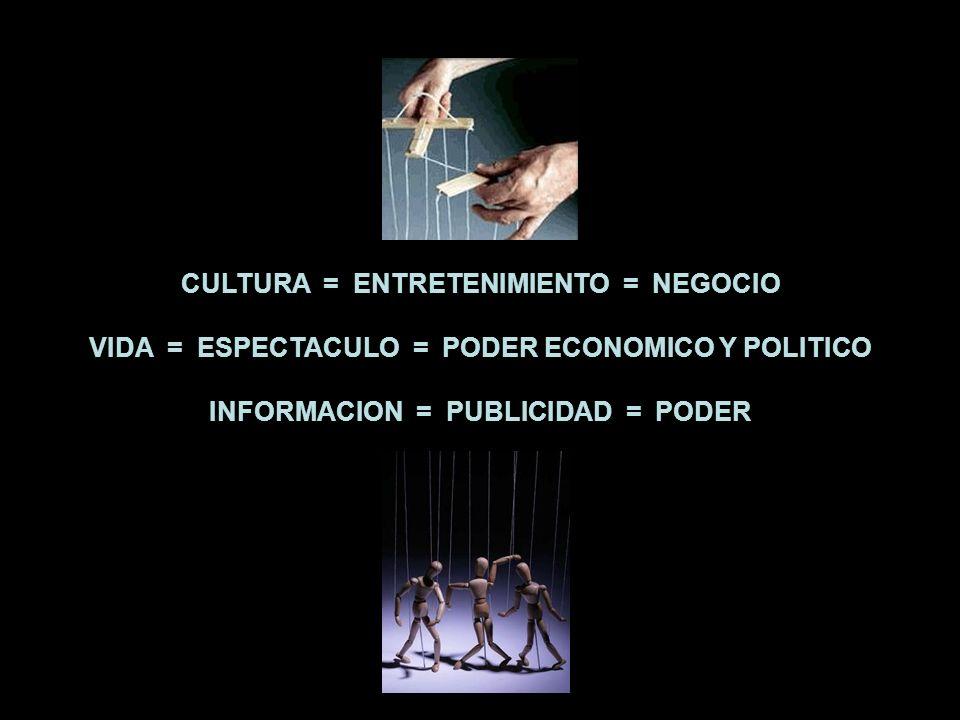 La cultura se está reduciendo al entretenimiento, y el entretenimiento se convierte en brillante negocio universal; la vida se está reduciendo al espectáculo, y el espectáculo se convierte en fuente de poder económico y político; la información se está reduciendo a la publicidad, y la publicidad manda.