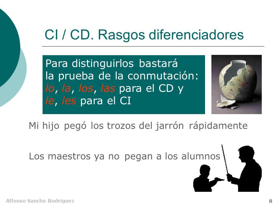 Alfonso Sancho Rodríguez 7 CI / CD. Rasgos comunes 6.Ambos pueden ir precedidos de la preposición a No echa de menos a Paco Los psicólogos recomiendan