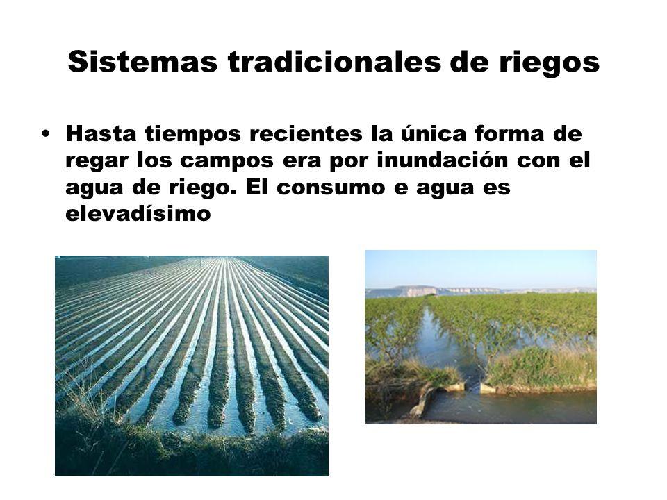 Sistemas tradicionales de riegos Hasta tiempos recientes la única forma de regar los campos era por inundación con el agua de riego. El consumo e agua