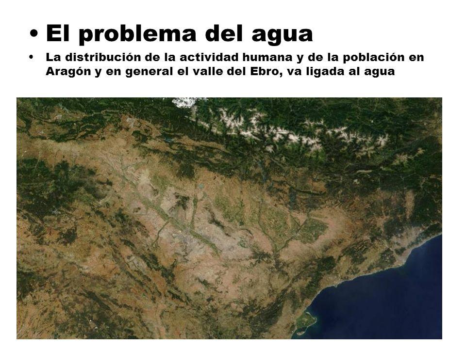 El problema del agua La distribución de la actividad humana y de la población en Aragón y en general el valle del Ebro, va ligada al agua